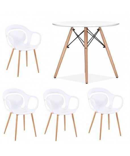 Pack FALCON, mesa y 4 sillones de color blanco