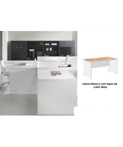 Mesa de oficina ARAC 160x80 cm, lateral y faldon blanco, tapa teka