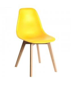Silla MARAIS, madera, polipropileno amarillo