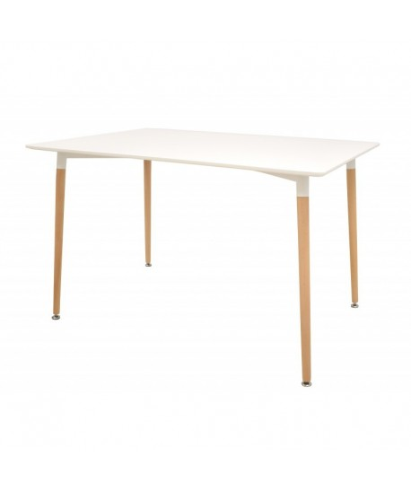 Mesa EDURNE, madera, tapa lacada blanca, 120 x 80 cms