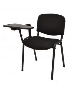 Silla NIZA NEW AM, pala de escritura, chasis negro, tapizado negro