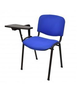 Silla NIZA NEW AM, pala de escritura, chasis negro, tapizado azul