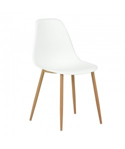 Silla CLUNY, metal color madera, polipropileno blanco