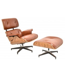 Butaca con ottoman EA, palo rosa, piel marrón