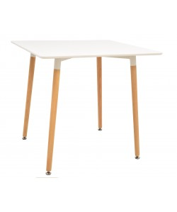 Mesa EDURNE, madera, tapa lacada blanca, 80 x 80 cms