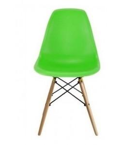 Silla TOWER PP, madera, polipropileno verde