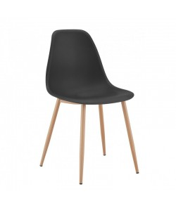 Silla CLUNY, metal color madera, polipropileno negro.