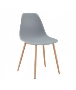 Silla CLUNY, metal color madera, polipropileno gris.