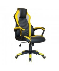 Sillón de oficina LOSAIL, alto, gas, basculante, combinado negro-amarillo