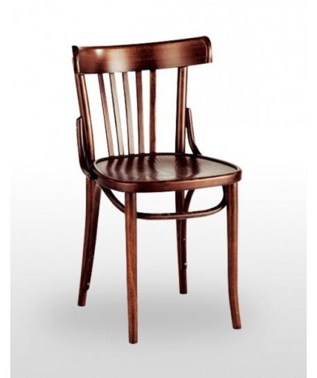 Silla de madera de haya CLASSIC, asiento madera barnizada color nogal.