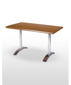 Mesa de hostelería ROMEO, aluminio brillo, tapa de mesa a elegir de 140 x 80 cm