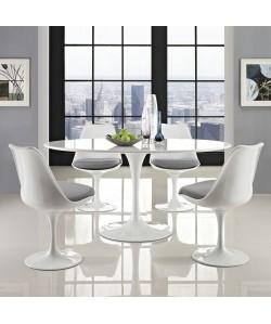 Mesa TUL, oval, fibra de vidrio, tapa lacada blanca, 160 x 90 cms