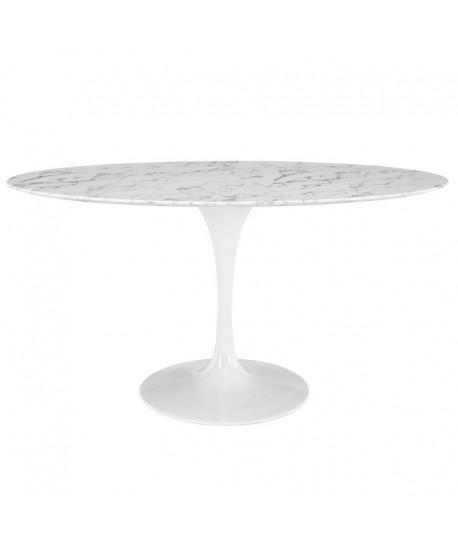 Mesa TUL, oval, fibra de vidrio, mármol blanco 160 x 90 cms