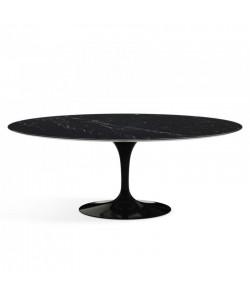Mesa TUL, oval, fibra de vidrio, mármol negro 160 x 90 cms