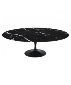 Mesa TUL, oval, fibra de vidrio, mármol negro 180x108 cms