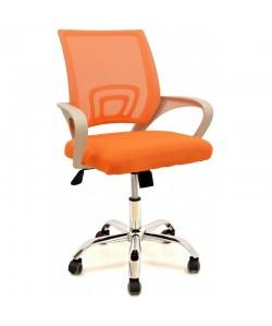 *Sillón de oficina FISS NEW, blanco, gas, basculante, malla y tejido naranja