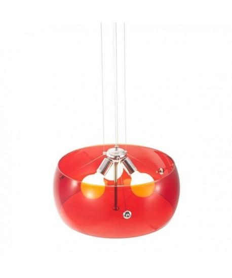 Lámpara TITAN, colgante, diseño, pantalla acrilica roja