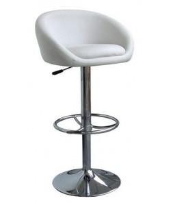 Taburete DRUM (L), cromado, tapizado blanco.