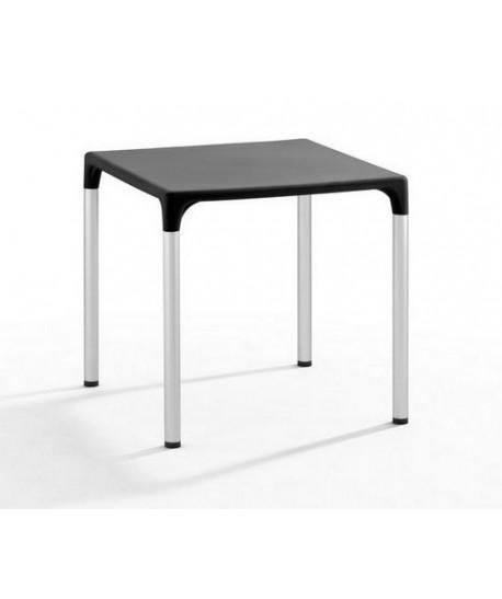 Mesa ELIANA, aluminio, polipropileno negro, 74 x 74 cms