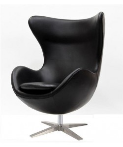Sillón EG 66, tapizado similpiel negra