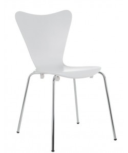 Silla JACOB, apilable, cromada, lacada blanco