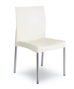 Silla SANDRA, aluminio, polipropileno blanca*