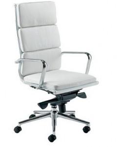 Sillón de oficina MISURI, alto, similpiel blanca