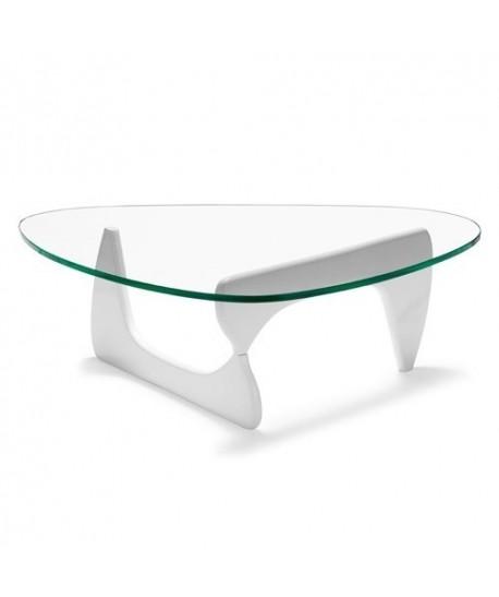 Mesa NOG, baja, lacada blanca, tapa de cristal 15 mm. 125x90 cms