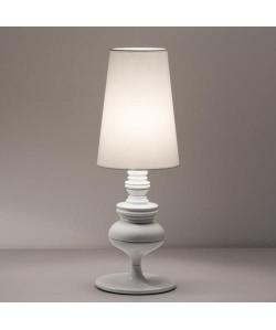 Lámpara LOUVRE, sobremesa, blanca, pantalla blanca