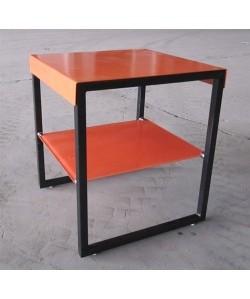 Mesa KIHA, baja, multiusos, metal y cristal naranja