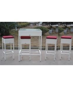 Pack MONET, mesa alta + 4 taburetes, ratán blanco beige*