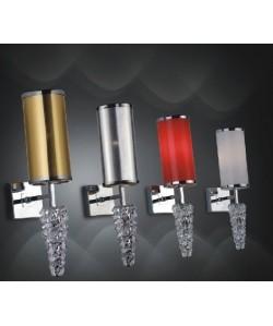 Lámpara MIZAR, aplique de pared, cromado, pantalla roja