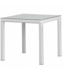 Mesa COSTA, aluminio, ratán blanco beige, 80x80 cms