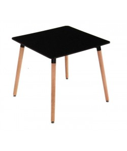 Mesa NURY, madera, tapa lacada negra de 80 x 80 cms