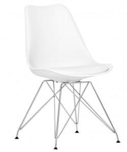 Silla TORRE, cromada, blanca, cojín blanco
