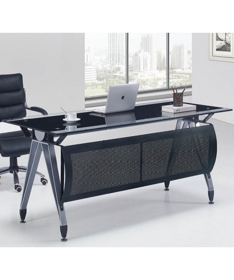 Mesa de oficina BASILEA, cristal negro y transparente, 180x85 cms