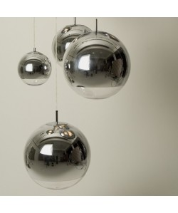 Lámpara LEO, colgante, cristal, cromado - transparente, 30 cms de diámetro