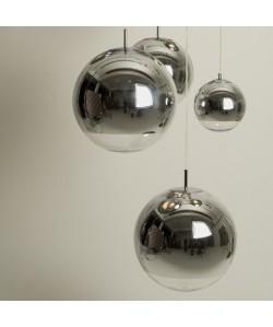 Lámpara LEO, colgante, cristal, cromado - transparente, 40 cms de diámetro