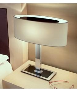 Lámpara CERES, sobremesa, cromada, pantalla blanco
