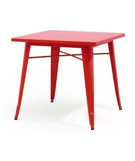 Mesa TOL, acero, roja, 80x80 cms