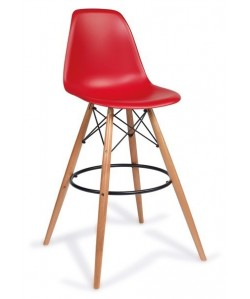 Taburete TOWER, madera, carcasa roja
