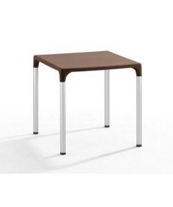 Mesa DOROTEA, aluminio, polipropileno chocolate 70x70 cms
