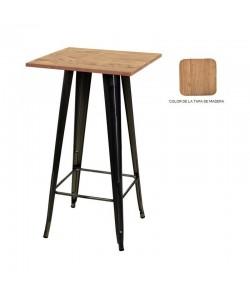 Mesa TOL, alta, acero, madera, negra, 60x60 cms
