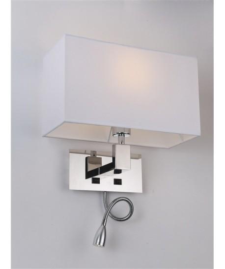 Lámpara CAROLI, aplique, cromado, pantalla blanca