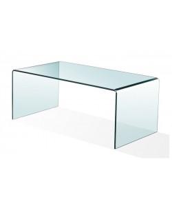 Mesa CHEVAL, baja, cristal curvado, 100x48 cms