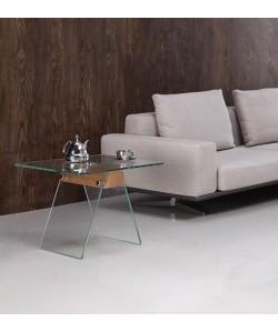 Mesa ALHAMBRA, baja, cristal, madera, 60x60 cms