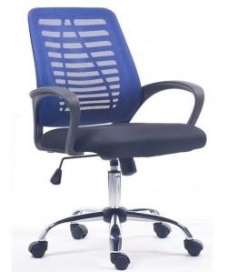 Sillón de oficina BRETAÑA, malla azul, tejido negro