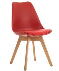 Silla TORRE 4P (H), madera, polipropileno y cojín rojo