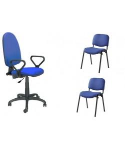 Pack PRE50, silla operativa con brazos + 2 sillas fijas - tejido A20 azul