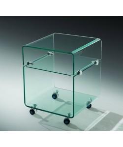 *Mesa ARMSTRONG, baja, ruedas, cristal, 40x40 cms